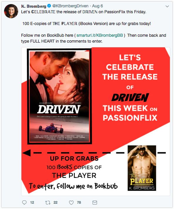 Twitter giveaway for BookBub followers