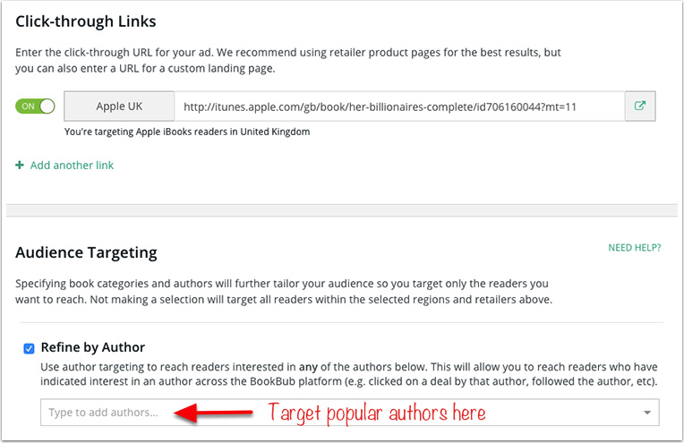 BookBub Ads regional author targeting