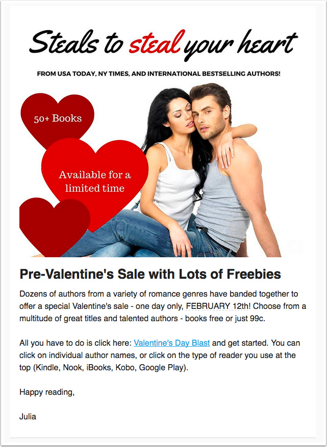 Valentine's Day-themed newsletter