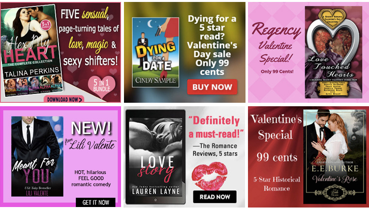 Valentine's Day-themed BookBub Ads