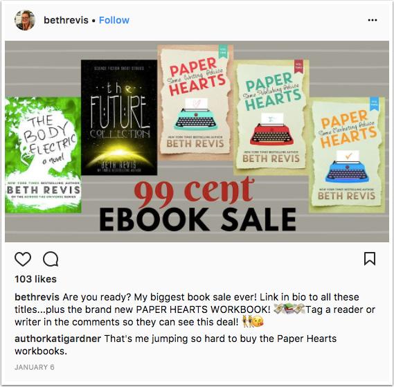 Instagram post promoting ebook discount