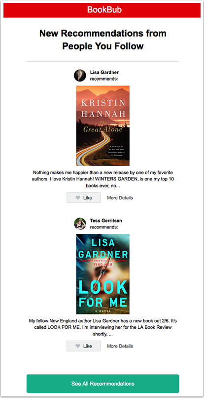 BookBub Recommendations Digest Email