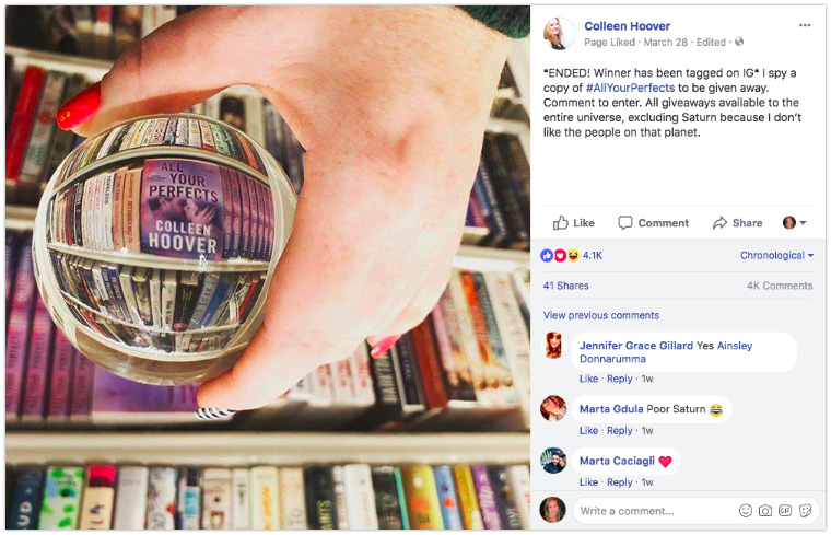 Colleen Hoover - Use clever props when displaying books on a shelf
