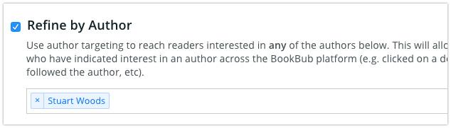 BookBub Ads - Refine By One Author