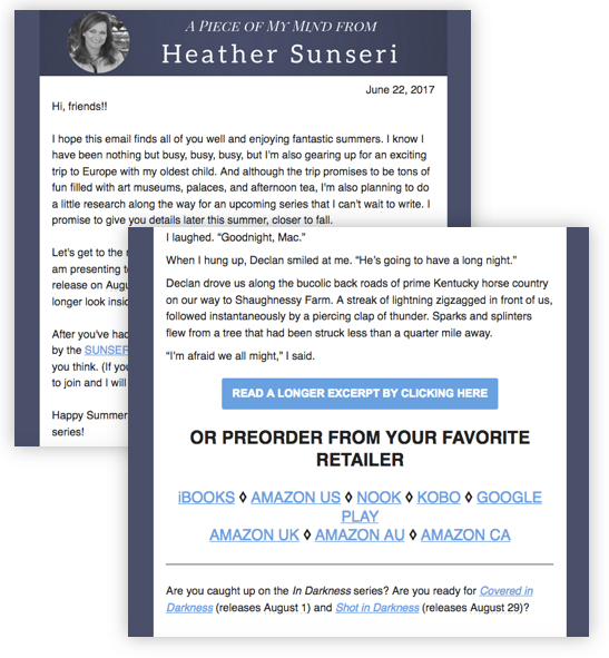 Newsletter book promotion