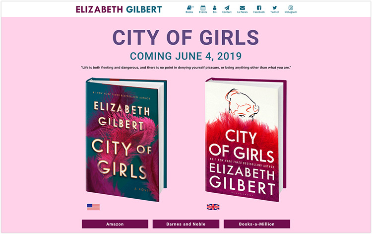 Elizabeth Gilbert author website design