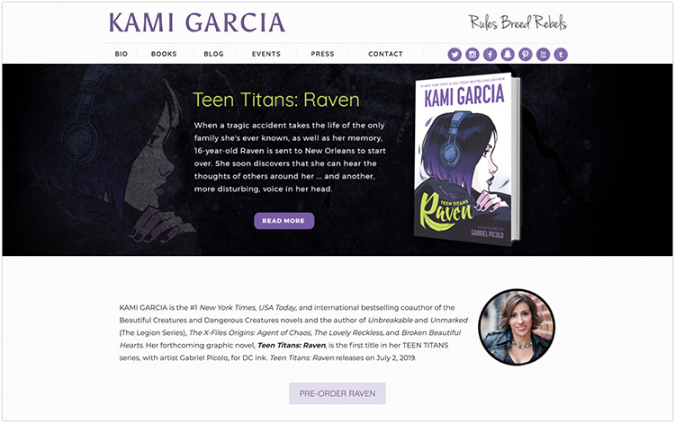 Kami Garcia author website design