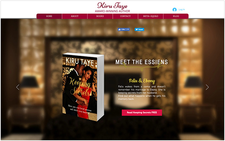 Kiru Taye author website design