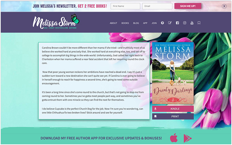 Melissa Storm author website design
