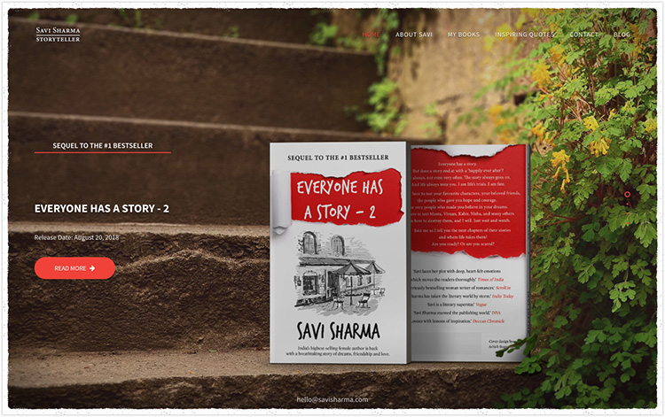 Savi Sharma author website design