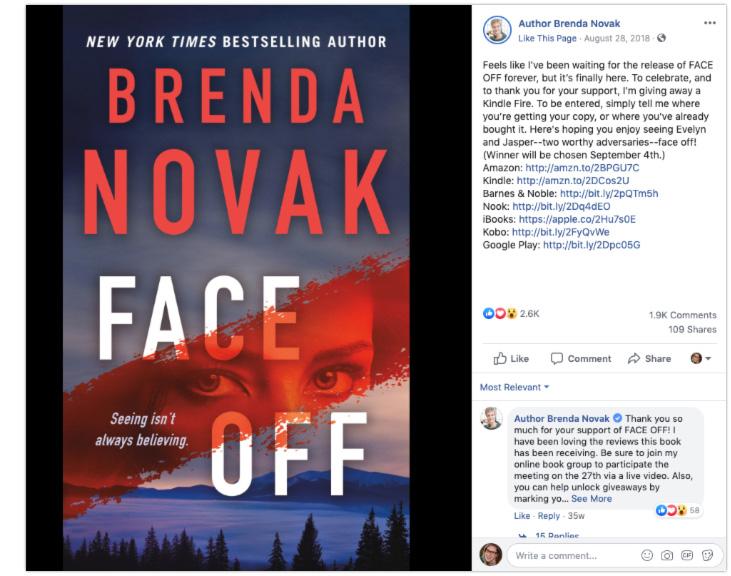 Brenda Novak author facebook giveaway