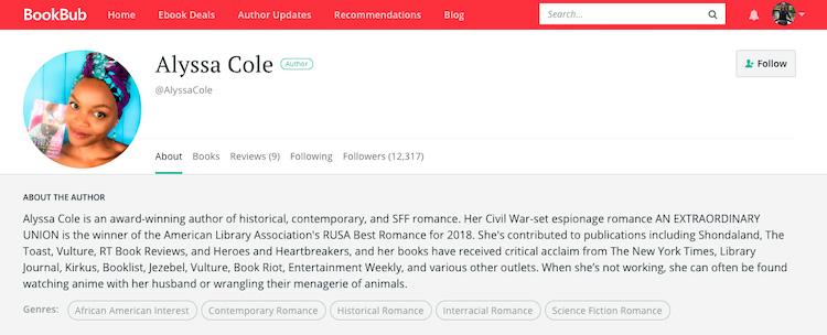Alyssa Cole BookBub Author Profile