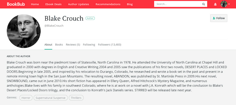 Blake Crouch BookBub Author Profile