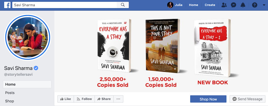 Savi Sharma Author Facebook Page