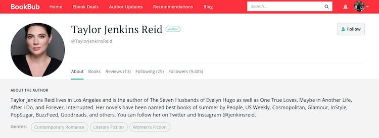 Taylor Jenkins Reid BookBub Author Profile