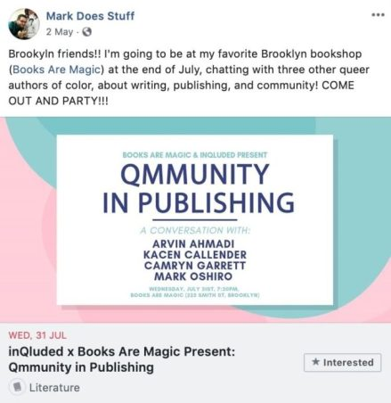 Ways Authors Use Facebook Event