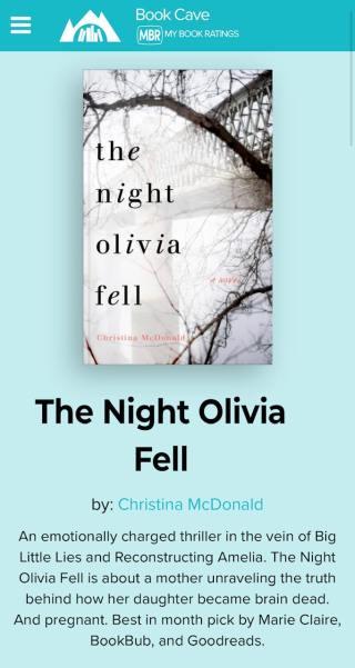 Book Cave Night Olivia Fell Christina McDonald