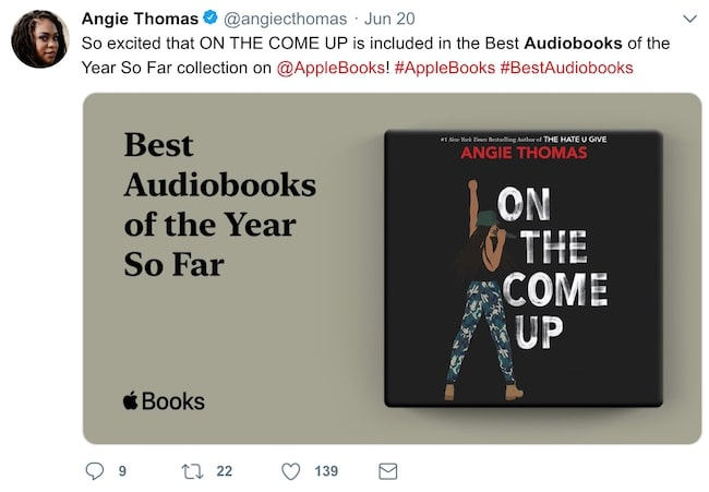 Angie Thomas's On the Come Up audiobook twitter promotion