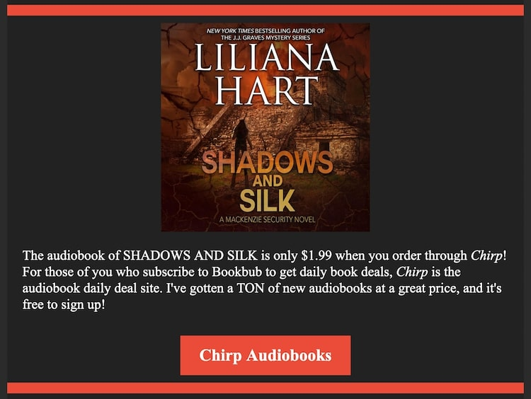 Liliana Hart Shadows and silk audiobook ad