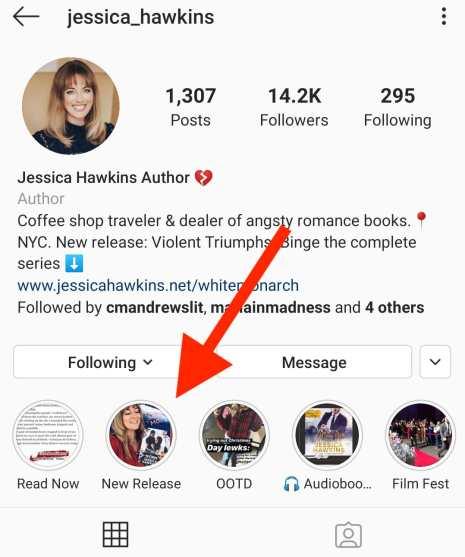 Instagram highlights on Jessica Hawkins profile