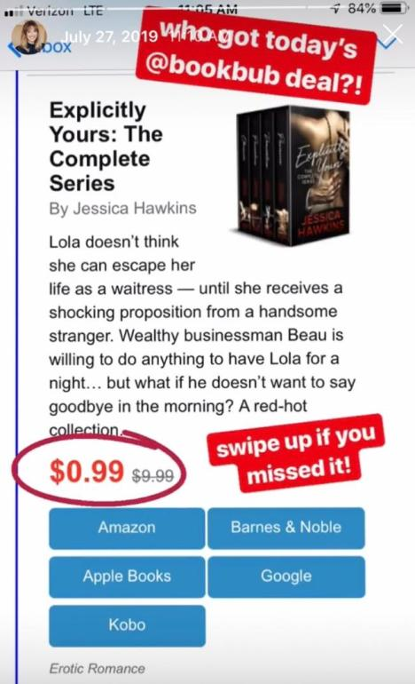 BookBub deal for Jessica Hawkins on instagram story