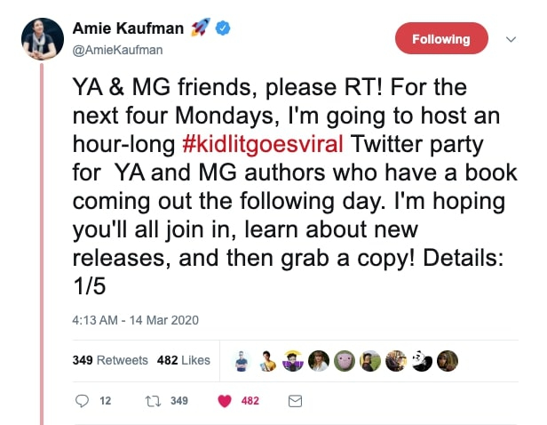 Amie Kaufman tweet about covid-19