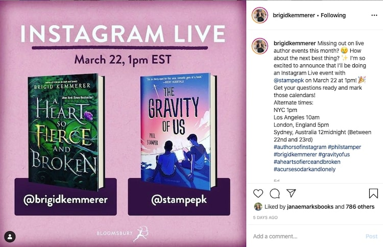 Brigid Kemmerer and Phil Stamper Instagram Live videos