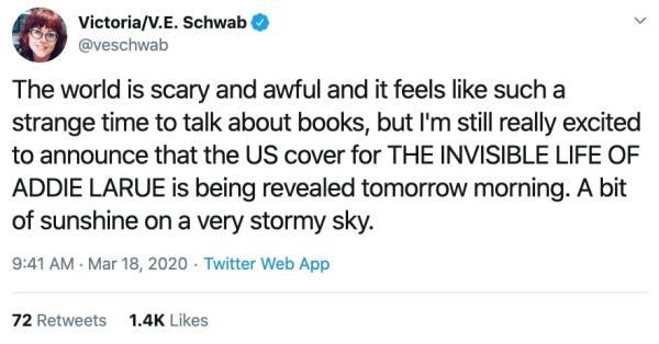 V E Schwab tweet Covid-19