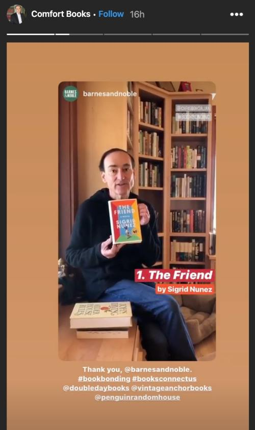 Chris Bohjalian Instagram story comfort books