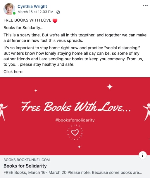 Free Books with Love from Cynthia Wright