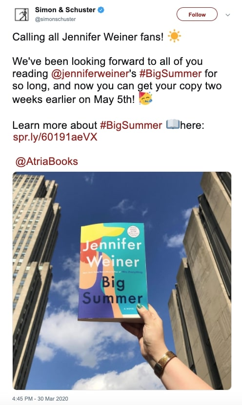 Big Summer by Jennifer Weiner release date moved up