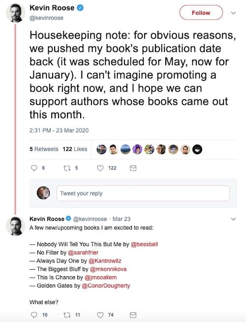 Kevin Roose Tweet on Covid-19