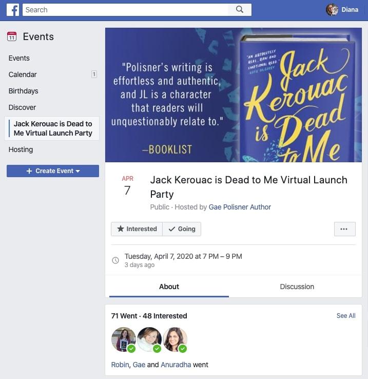 Gae Polisner facebook live event page