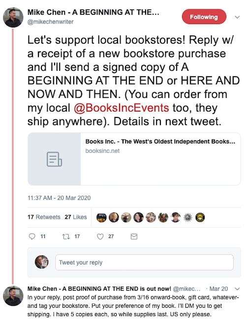 Mike Chen twitter supporting local bookstores