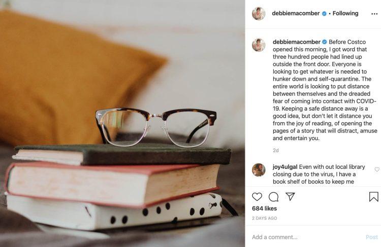 Debbie Macomber instagram post covid-19