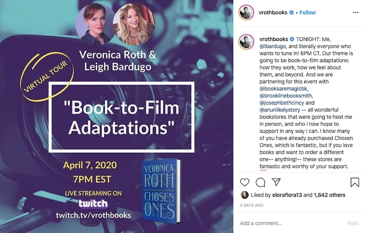 Veronica Roth and Leigh Bardugo promoting on Instagram