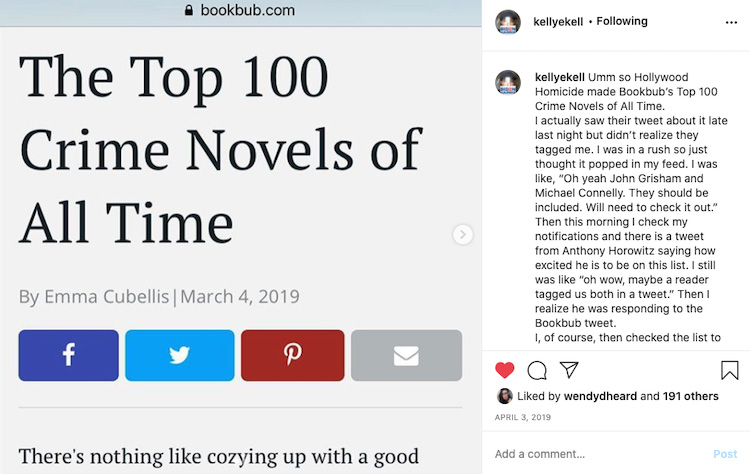 Author Boosting a BookBub Blog Mention on Instagram