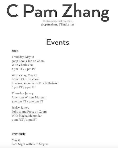 Book Tour Schedule on Website