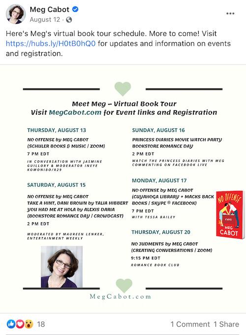 Virtual Book Tour Schedule Facebook