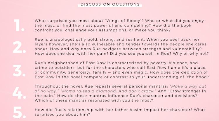 Wings of Ebony book club kit