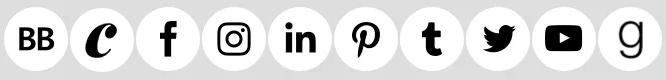Black icons on white circles