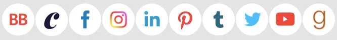 3. Colorful icons on white circles