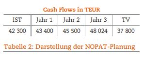 Tabelle 2: Darstellung der NOPAT-Planung