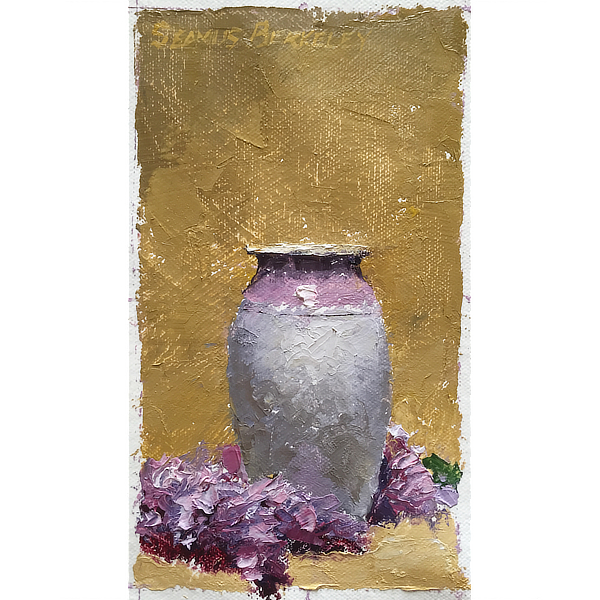 Lilacs surrounding the base of a gray and violet colored vase composed against a yellow ochre background.
