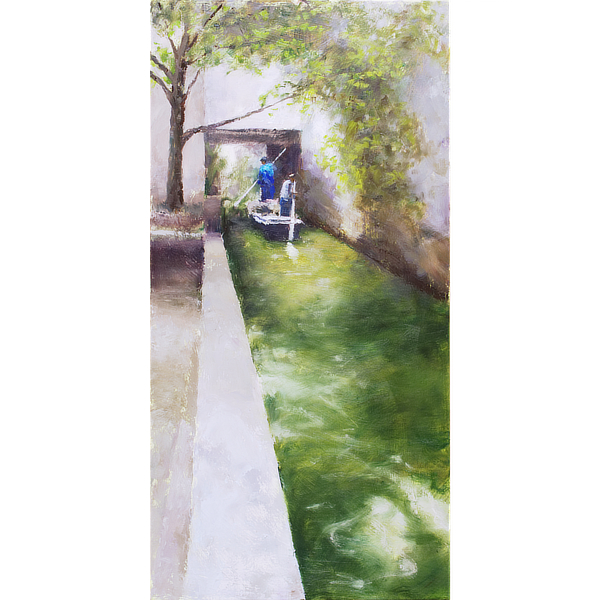 Two men paddling a boat under a bridge over a canal in Suzhou, China.