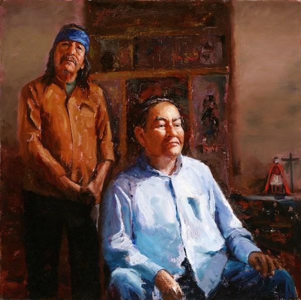 Double portrait oil painting of two people from the Picuris Pueblo posed inside an adobe San Lorenzo de Picuris chapel with retablos.