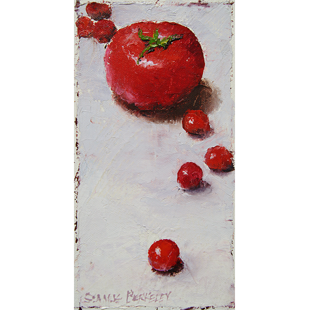 Still life painting of bright red large and small tomatoes arranged on a white background.