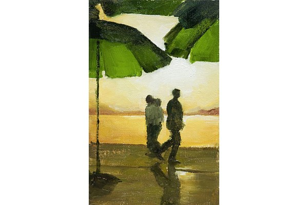 Silhouettes of three people walking along a lake boardwalk with bright green umbrellas at West Lake, Hangzhou, China.
