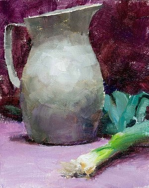 Leeks and a pewter vase still life painting arrangment on a violet and purple background.