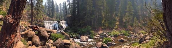 Panorama of McCloud River Middle Falls waterfall near Mount Shasta, California.